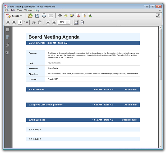 Meeting Agenda Example  Example Of Agenda For A Meeting